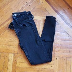 [American Eagle] black super stretch skinny jeans